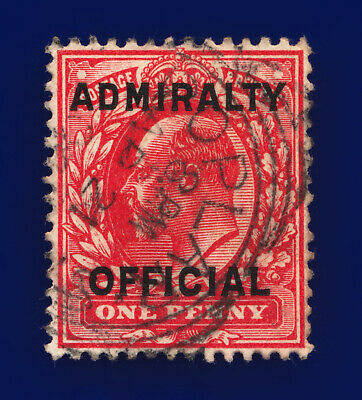 1903 SGo108 1d Scarlet Admiralty Official MO37 Poplar Good Used Cat £28 cnyg