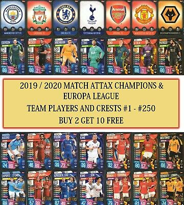 Topps Match Attax 2019 2020 19 20 Champions / Europa League Team Cards #1 - #250