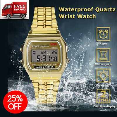 CASIO A158W-1 Unisex Classic Silver LED Digital F91W Sport Watch WR 30M Men Gold