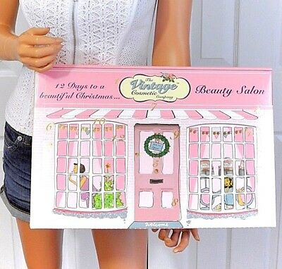 Vintage Cosmetic Makeup Hair Beauty Accessories Advent 12 Day Calendar