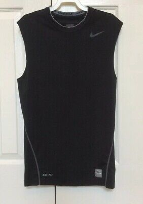 Nike Pro Sleeveless Compression Workout Shirt Black And Gray Men's Medium