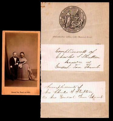 c1881 General Tom Thumb & Wife  Signed Charles S Stratton & Photo - P T Barnum -