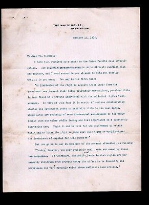 1906 President Theodore Roosevelt IMPORTANT Anti Trust - Monopoly letter signed