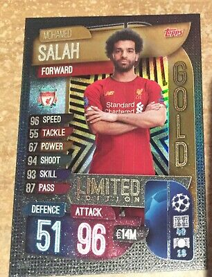 Match Attax 2019/2020 19 20 Mohamed Mo Salah Gold Limited Edition card new
