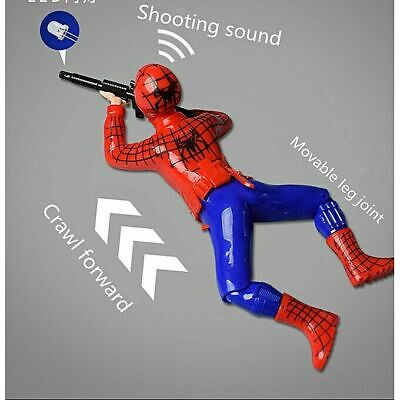 Hot Present Gift Kids Spiderman Toy Electric Crawl With Gun Light Sound UK Stock