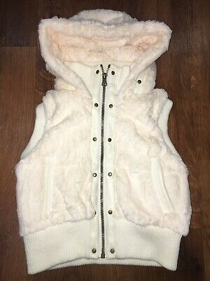 Girls Faux Fur Gilet Waistcoat Hoodie. Age 5-6 Years. Super Soft. Excellent Cond