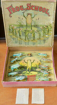 """Late 1800s Antique """"FROG SCHOOL"""" Game/Sequential Movement Puzzle MILTON BRADLEY"""