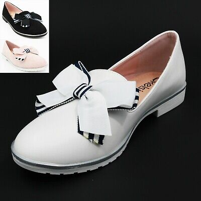 Ladies Bow Low Heel Chunky Sole Loafers Pull On Embellished Pumps Comfy Shoes