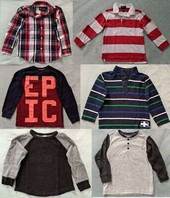 Boys Shirts POLO Ralph Lauren GYMBOREE Nautica Sz 5-6 EUC Tops Long Sleeved Lot