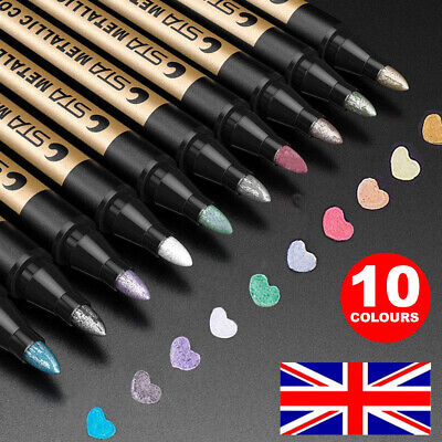 Set of 10 Paint Marker Pen All Colours Markers Pens Car Tyre Tyres Metal