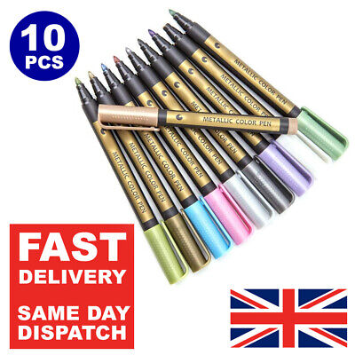10 Metallic Pens Paint Marker For Paper Gift Card Glass Wood Metal Rock Fabric