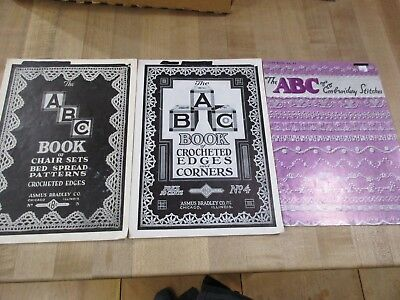 Vintage 3 ABC Book of Crocheted Edges & Corners no 4 & No 5  Asmus Bradley Co