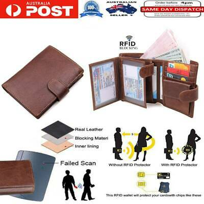 RFID Blocking Leather Trifold Wallets RFID Card Holder Purse with ID Windows AU