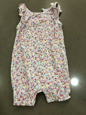 Baby Gap Girls Pink Floral Print Ruffle Sleeve One Piece Romper 6-12 Months