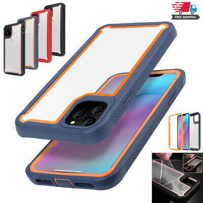 iPhone 11 Pro Max Case Hybrid Heavy Duty Shockproof Clear Cover +Glass Protector