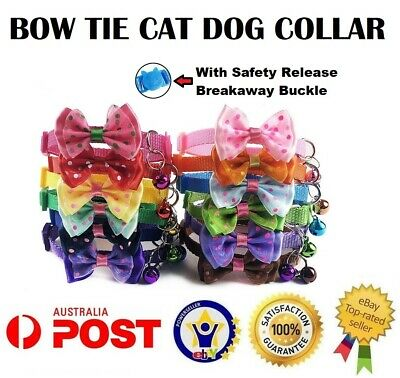 Bow Tie Cat Dog Kitten Collar with Breakaway Safety Release Buckle 19-32cm Bell