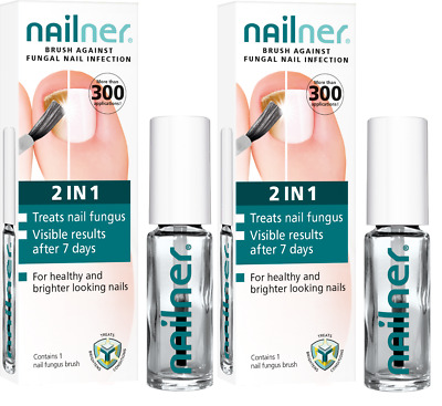 PACK OF 2 x Nailner 2 in 1 Brush Nail Treatment Fungal 5ml Effective LONG EXPIRY