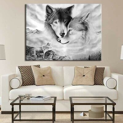 Black&White Wolf Nature Canvas Home Hanging Picture Wall Art Painting Decor UK