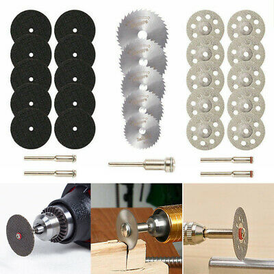 30x Mini Diamond Cutting Discs Wheel Tool Set + Drill Bit For Rotary Tool UK