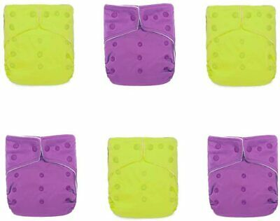 KaWaii Baby 6 One Size Ultra Soft Snap Cloth Diapers + 12 Mom Bamboo Inserts