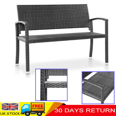 Garden Rattan 2 Seater Bench Patio Balcony Seat Outdoor Chairs Home Furniture UK