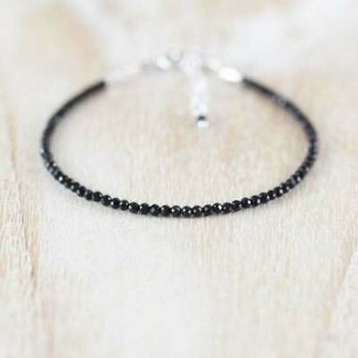 """AA+ Beautiful Black Spinel 2mm Natural Faceted Gemstone Beads Bracelet 7"""""""