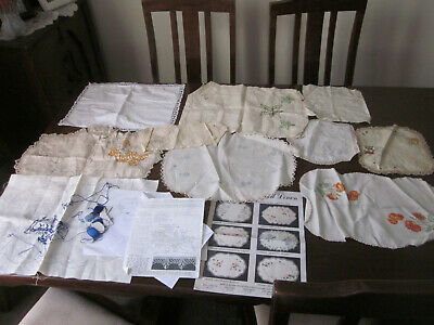 Collection Of 10 Linens With Embroidery To Do Or To Finish