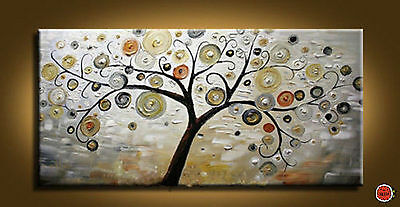 ZWPT53 100% handpainted abstract tree oil painting landscape decor art on Canvas