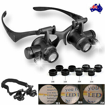 8 Lens Magnifier Magnifying Eye Glass Jeweler Watch Repair Loupe W/ LED Light AU