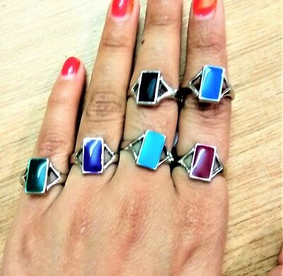Silver Plated Rings Stones Fashion Ring Reiki Fine natural gemstone beads stones