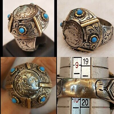 Origin Massive Roman Wonderful Ancient Old Silver Ring With Greek Antique Coin