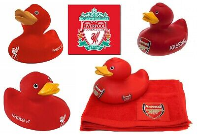 Arsenal / Liverpool Toys - Bath Time Duck & Face Towels Football Gift