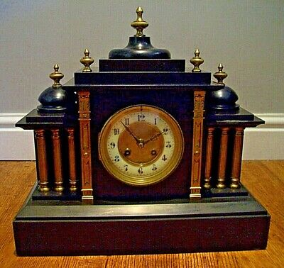 Antique 1855 19th Century Black Slate French Mantel Clock (Gilt Finials & Key)