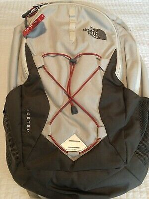 "The North Face Women's Jester Laptop 15"" Backpack Grey White Crimson"