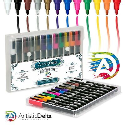Paint Markers Set of 12 Medium Point Oil-based Art Pens w/Durable Case