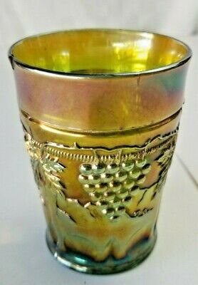 Vintage NORTHWOOD Carnival Glass GRAPE & CABLE Tumbler GREEN Antique