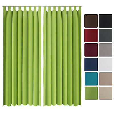 Beautissu 2 Set Opaque Blackout Curtain Amelie with Loops 140 x 245cm Green