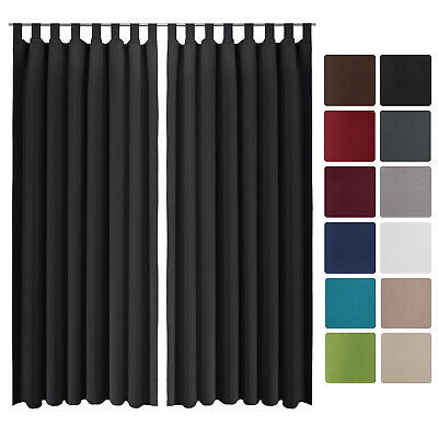 Beautissu 2 Set Opaque Blackout Curtain Amelie with Loops 140 x 245cm Black