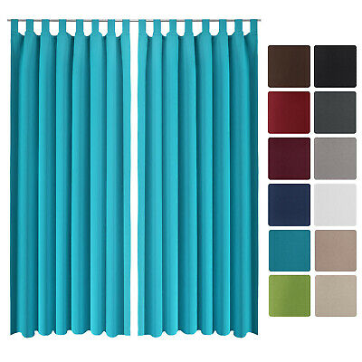Beautissu 2 Set Opaque Blackout Curtain Amelie with Loops 140 x 245cm Turquoise
