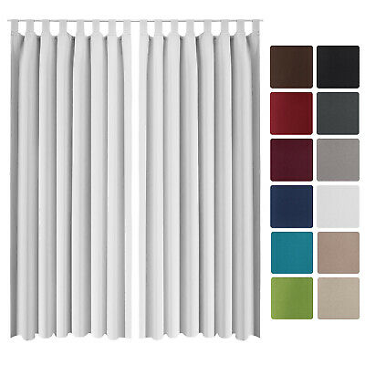 Beautissu 2 Set Opaque Blackout Curtain Amelie with Loops 140 x 245cm White
