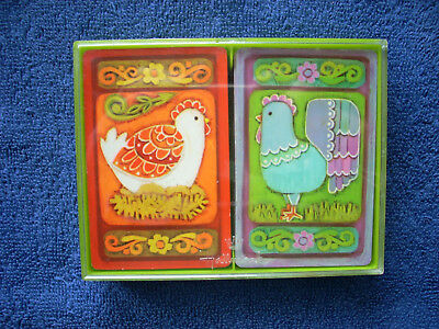 Vintage Hallmark Bridge Playing Cards - Plastic Case - Chicken and Rooster
