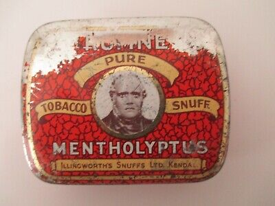 Dr. Rumney's Pure Tobacco Snuff Tin Mentholyptus Illingworth Snuffs Antique Vtg