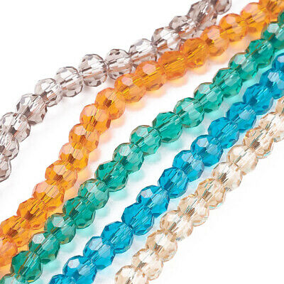 "10 Strd Environmental Glass Round Bead Faceted Mix 4mm 14"" Jewelry Loose Spacer"