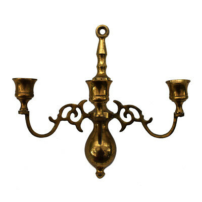 Vtg. Asian Brass 3-Candle Holder Arms Dramatic Goth Wall Sconce Candelabra Japan