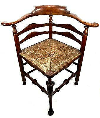 George III English Antique Wooden Oak Framed & Rush Corner Chair / 18th Century