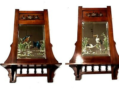 Antique Victorian Mahogany Framed Shelved Mirror Pair / Painted Glass Scenes