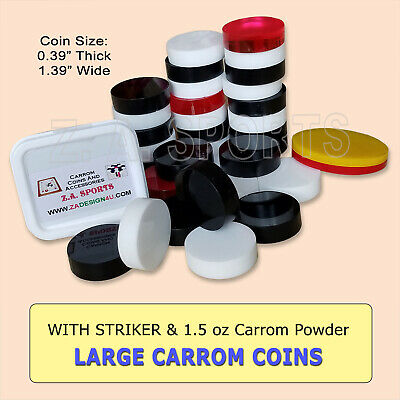 Carrom Board Coins/ Striker Acrylic Plastic and 1.5 oz Powder.