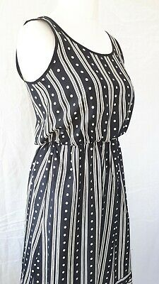 Vintage St.Michael Size 12 Ladies Midi Dress Black Stripes Satin Silky Feel US 8