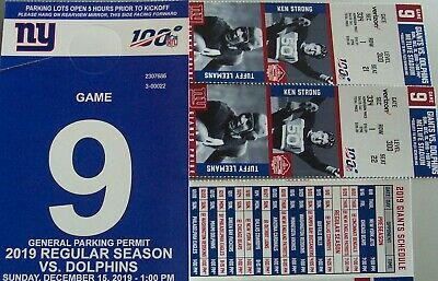 Lower/Loge Sec334- Row 1 -Two Tickets New York Giants/ Miami Dolphins-+Park Pass