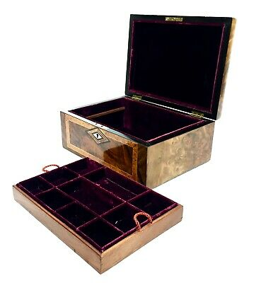 19th Century Burr Walnut Wooden Ladies Jewellery / Sewing Box, Victorian Antique